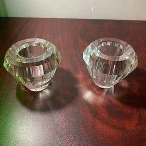 Lenox Crystal half diamond candle holders